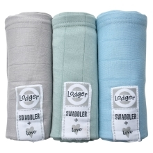 LODGER Swaddler Scandinavian Solid 3balení Pure/Feather/Mist