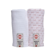 LODGER Swaddler Scandinavian Print 2balení Blush/White