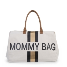 CHILDHOME Mommy Bag Big Canvas Off White Stripes Black/Gold