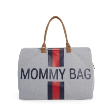 CHILDHOME Mommy Bag Big Canvas Grey Stripes Red/Blue