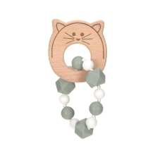 LÄSSIG Teether Bracelet Wood/Silicone Little Chums Cat