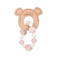 LÄSSIG Teether Bracelet Wood/Silicone Little Chums Mouse