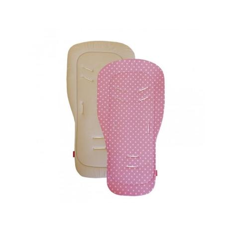 AESTHETIC Podložka do kočárku univerzální puntík bílý na růžové/béžová