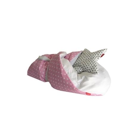 AESTHETIC Rychlozavinovačka péřová puntík bílý, růžová 75x75 cm