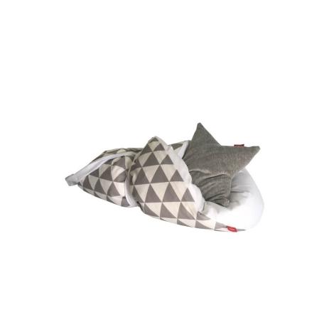AESTHETIC Rychlozavinovačka péřová triangel šedý, bílá 75x75 cm