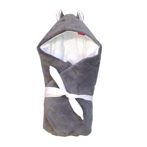 AESTHETIC Rychlozavinovačka s kapucí mikroplyš zimní šedá