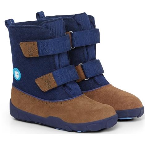 AFFENZAHN Dětské barefoot boty Minimal Highboot Leather - Bear/Dark Blue/Brown vel. 28