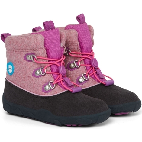 AFFENZAHN Dětské barefoot boty Minimal Midboot Wool - Bird/Purple/Pink