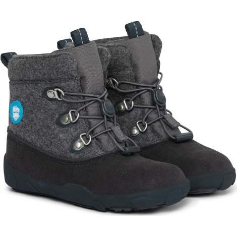 AFFENZAHN Dětské barefoot boty Minimal Midboot Wool - Dog/Grey/Black