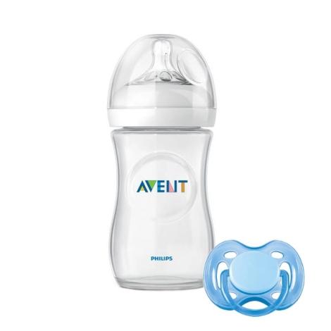 AVENT lahev 260ml Natural PP + šidítko modré 0-6m