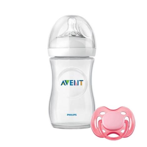 AVENT lahev 260ml Natural PP + šidítko růžové 0-6m