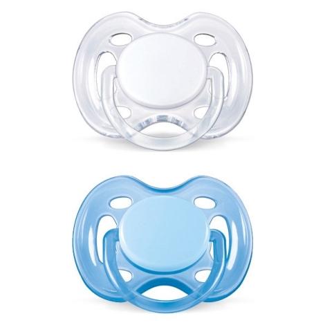 AVENT šidítko Sensitive 0 - 6 m. bílé a modré, 2 ks
