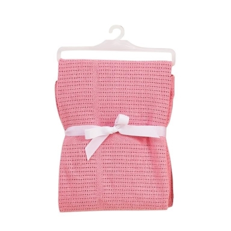 BABY DAN bavlněná háčkovaná deka sv.růžová NEW