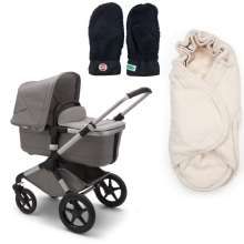 BUGABOO Fox2 Mineral complete Alu/Light Grey + DÁRKY Black/Offwhite