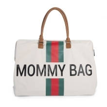 CHILDHOME Mommy Bag Big Canvas Off White Stripes Green/Red