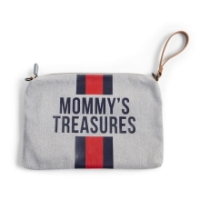 CHILDHOME Mommy Clutch Canvas Grey Stripes Red/Blue