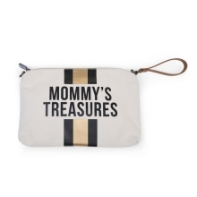 CHILDHOME Mommy Clutch Canvas Off White Stripes Black/Gold