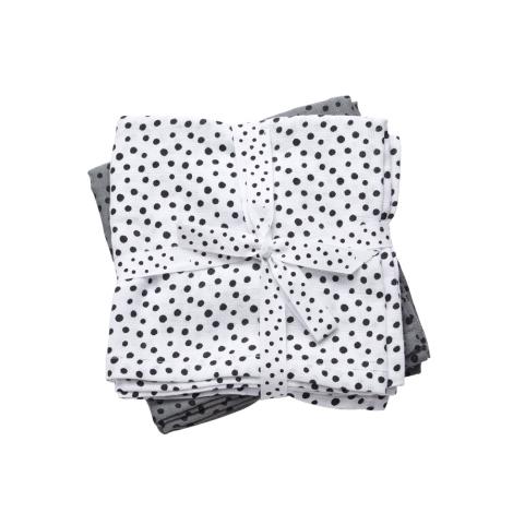 DONE BY DEER Mušelínové zavinovací plenky Happy dots, šedé, 2 ks