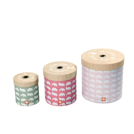 DONE BY DEER Set kulatých úložných krabic 3 ks růžová