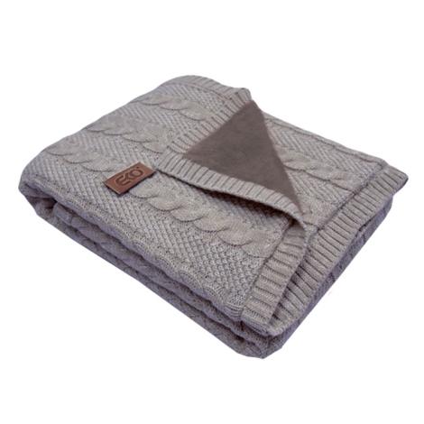 EKO Dečka z pleteniny klasy + kožešina šedá