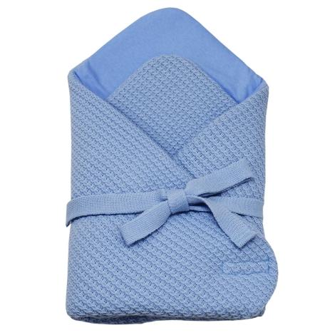 EKO Zavinovačka z pleteniny copánky modrá
