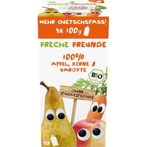 FRECHE FREUNDE BIO Ovocná kapsička Jablko, hruška a mrkev (4-pack)