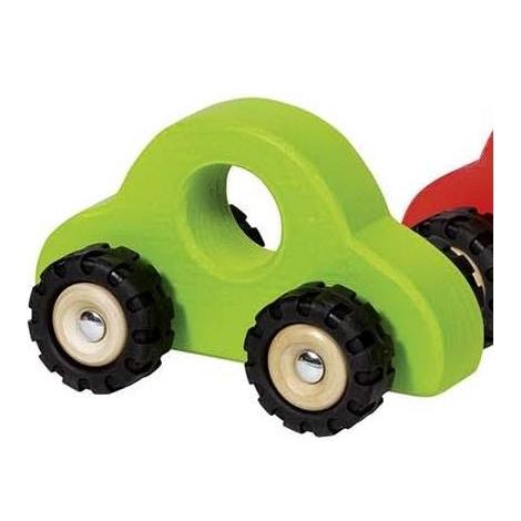 GOKI Dřevěné autíčko s gumovými koly zelené