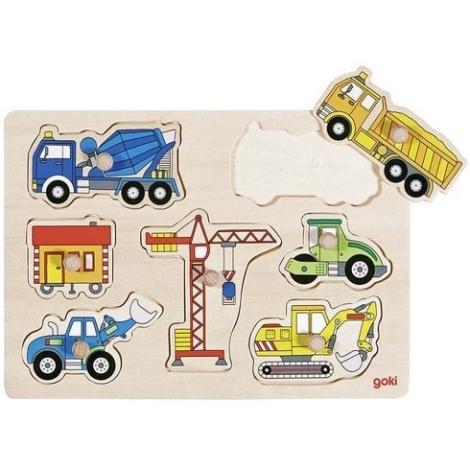 GOKI Dřevěné puzzle pro nejmenší stavební auta