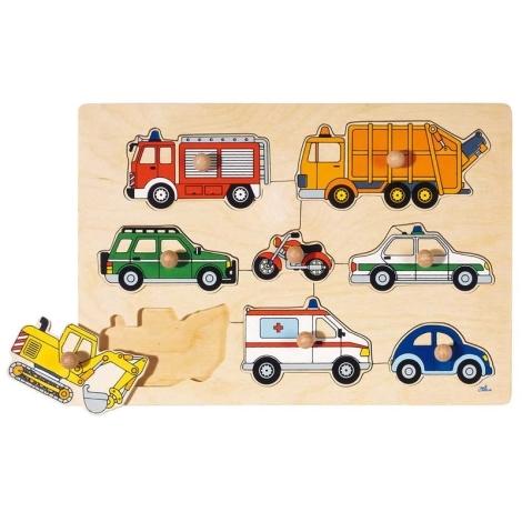 GOKI Puzzle s dřevěnými úchytkami Dopravní prostředky