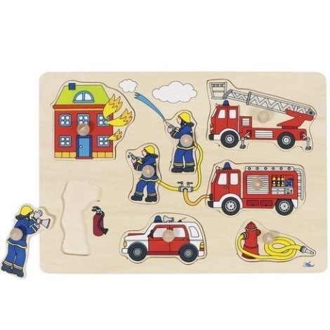 GOKI Puzzle s dřevěnými úchytkami hasiči