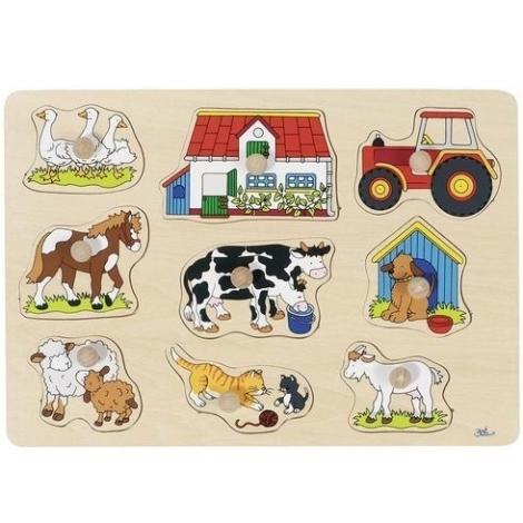 GOKI Puzzle s dřevěnými úchytkami zvířátka na statku II