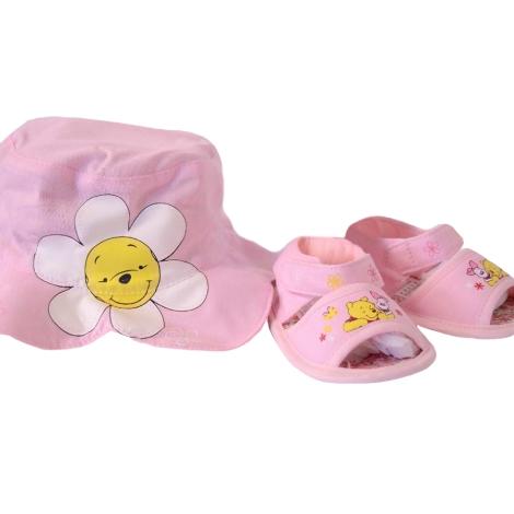 GRAZIELLA Set Pooh klobouček + sandále světle růžová
