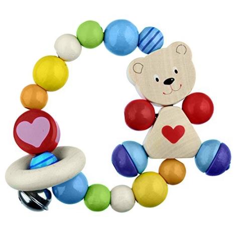 HEIMESS Dřevěný kroužek se srdíčkem Medvěd