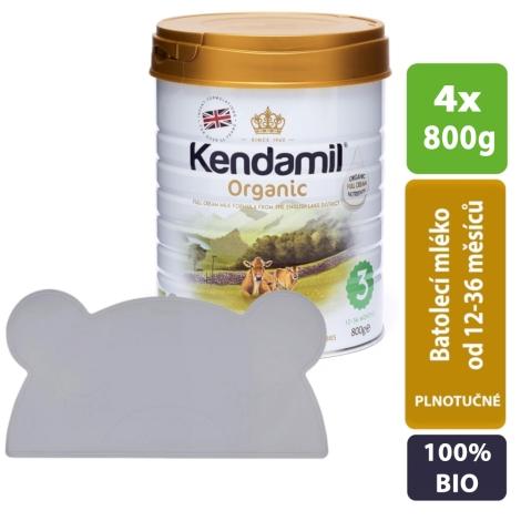KENDAMIL 100% Bio/Organické plnotučné batolecí mléko 3 (4 x 800 g) + KINDSGUT Podložka šedá