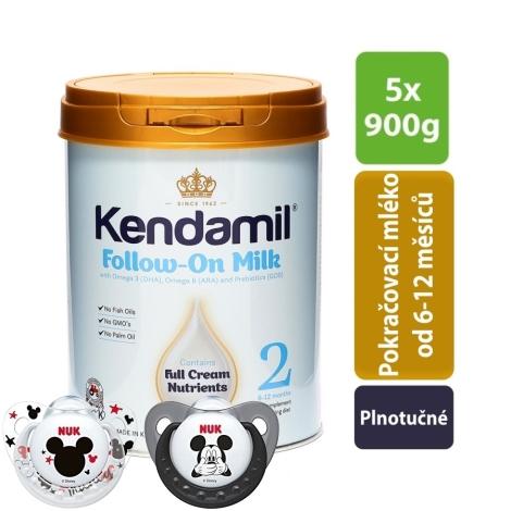 KENDAMIL Pokračovací mléko 2 (5 x 900 g) + NUK Dudlík Disney-Mickey,SI,V2 (6-18m.) 2 ks