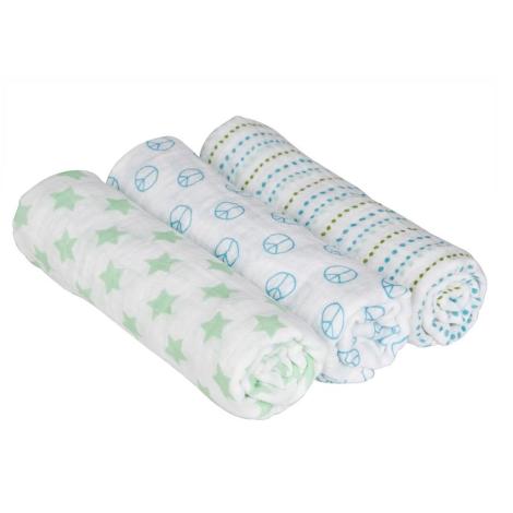 LÄSSIG deka Swaddle & Burp Blanket Large Sweet Dreams Boys 3 ks