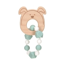 LÄSSIG Teether Bracelet Wood/Silicone Little Chums Dog