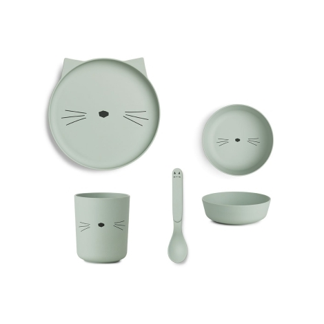 LIEWOOD Jídelní set Cat Dusty Mint