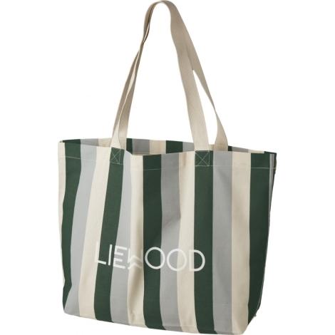 LIEWOOD Velká bavlněná taška Stripe Garden Green/Sandy/Dove Blue