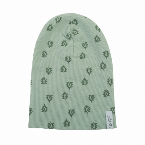 LODGER Beanie Print Rib Silt Green 6 - 12 měsíců
