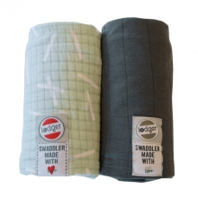 LODGER Swaddler 2balení Solid/Print Leaf/Carbon