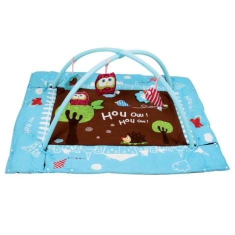 LUDI Sova hrací deka s mantinelem a hrazdou modrá