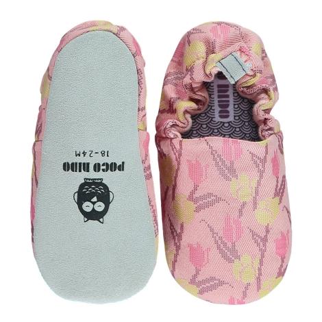 POCO NIDO Capáčky Mini Shoes Cross Stitch Tulips 6-12 měsíců