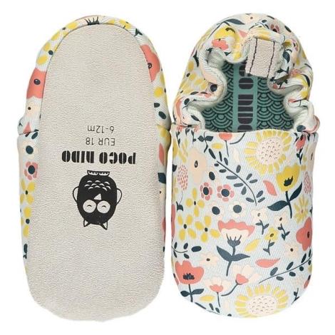 POCO NIDO Capáčky Mini Shoes Wildflowers Chalk 6-12 měsíců