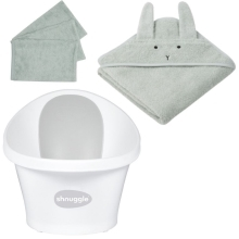 SHNUGGLE + LIEWOOD Výhodný set s žínkou Grey/Rabbit Dusty Mint