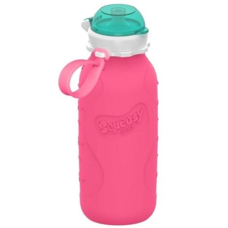 SQUEASY GEAR Silikonová lahev 480 ml růžová