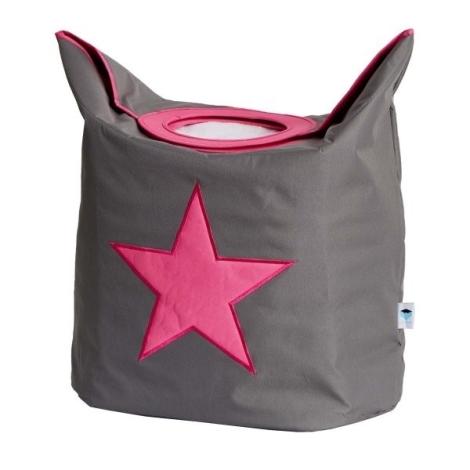 STORE IT Koš na prádlo šedá s růžovou hvězdou