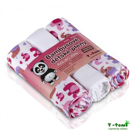T-TOMI bambusová plena 3ks růžoví sloni (2x potisk, 1x bílá)