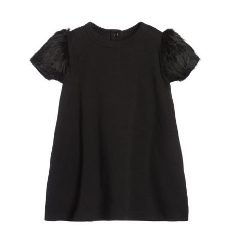 THE TINY UNIVERSE Šaty The Tiny Fur All Black