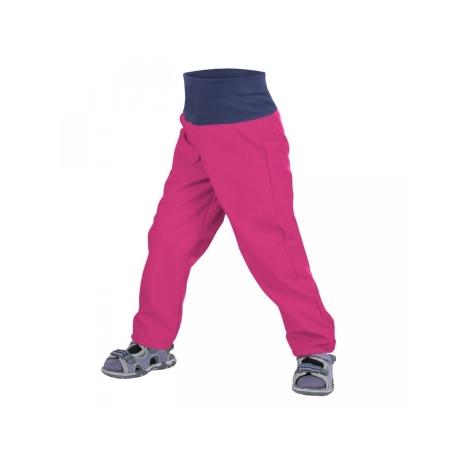 UNUO Dětské softshellové kalhoty bez zateplení malinové vel. 86-92 slim